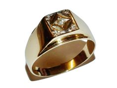 Fully Hallmarked 9ct Yellow Gold & Diamond Star Patterned Signet Ring UK Size: Y
