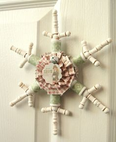 snowflake made from sewing spools