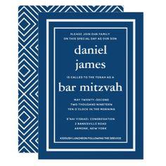 Navy Blue Modern Bar Mitzvah Invitation - typography gifts unique custom diy