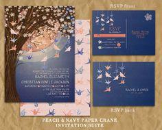 Paper Crane Wedding Invitation // Peach and Navy //
