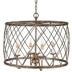 """View the Quoizel RDY2823 Dury 4 Light 23"""" Wide Drum Chandelier with Metal Cage Shade at Build.com."""