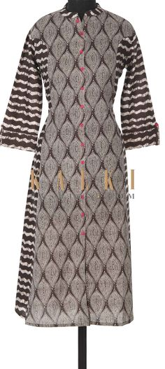 Brown printed kurti featuring in cotton. Placket is enhanced in fancy pink buttons. Fancy Buttons, Printed Kurti, Kurta Designs, Indian Designer Wear, Salwar Suits, Kurtis, Indian Wear, Indian Fashion, My Style