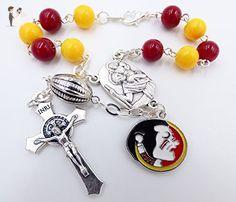 Single Decade St. Christopher Sports Team Auto Rosary - Florida State University Seminoles NCAA Catholic Rosary Beads - Wedding bracelets (*Amazon Partner-Link)