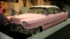 CARS of Elvis Presley 1955 Cadillac Fleetwood 60  According to the Elvis's Cadillacs website, his pink and white 1955 Fleetwood was his favorite. It has been on display at the Graceland museum since 1982. © Getty Images