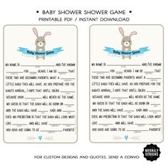 Baby Shower Fill-in-the-blanks Game  Blue  by MERRILYDESIGNS