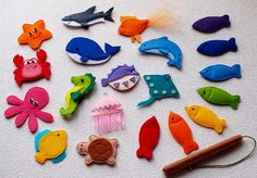 Magnetic Fishing Game Felt Sea Animals от CuteGiftsAndCrafts