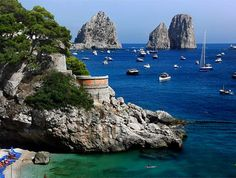 Capri, Italy. It is a famous island located in Sorrentine Peninsula on the southern side of Gulf of Naples in Campania.