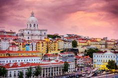 72 Hours on the Lisbon Coast - via Staysure 21.07.2015   Portugal's coastal capital city mixes a dynamic waterfront culture with the aching allure of yesteryear. Step away from the city and the Lisbon Coast is blessed with unmissable beaches and year-round sunshine. #lisboa #portugal #travel #tips Photo: Pastel coloured Houses in Lisbon Old Town at Dusk, Portugal