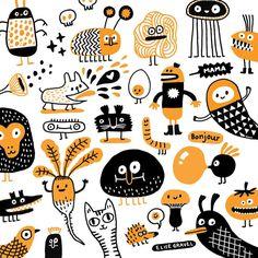 Today's imaginary friends. #doodleoftheday #orange #sketchbook #doodle