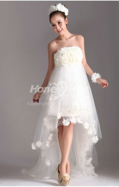 high low wedding dresses | Floral Strapless Column High Low Wedding Dress