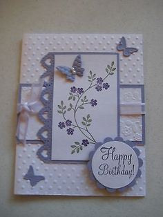 1 Butterfly Birthday Card Kit Made with Stampin Up with Envelopes Butterfly Birthday Cards, Butterfly Cards, Flower Cards, Birthday Cards For Women, Handmade Birthday Cards, Happy Birthday Cards, Making Greeting Cards, Greeting Cards Handmade, Karten Diy