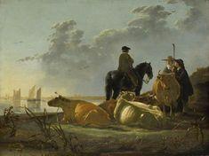 Albert Cuyp - Boeren met vier koeien bij de Merwede