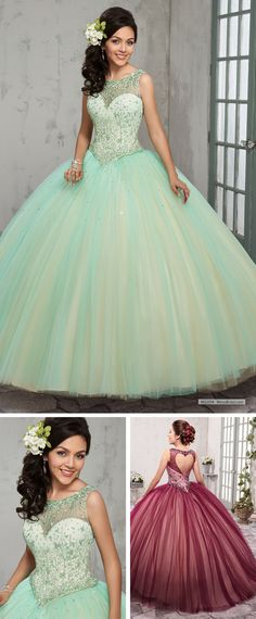 c4eb8167233 MQ2014 2-piece tulle quinceanera ball gown features bateau neck line