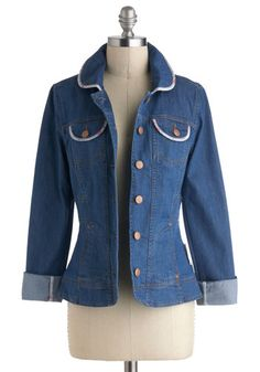 Field At Home Jacket by Blutsgeschwister - International Designer, Blue, White, Buttons, Trim, Casual, Long Sleeve, Collared, 1, Cotton, Short $129.99
