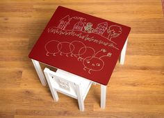Chalkboard table in red (Benjamin Moore chalkboard paint can be tinted to any color!)