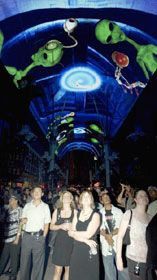 Fremont Street Experience--Free  Viva Vision show times are every hour on the hour from dusk to midnight.