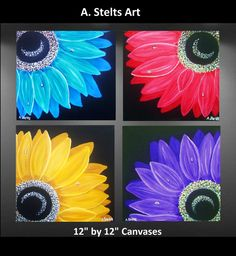Four Canvas Paintings Set by Asteltsart on Etsy