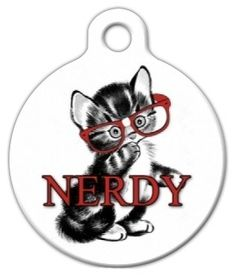 Dog Tag Art Custom Pet ID Tag for Cats Nerdy Kitten Small 875 inch *** Continue to the product at the image link. Cat Id Tags, Pet Tags, Kitten Accessories, Cat Training Pads, Dog Id, Cat Collars, Tag Art, Cat Toys, Cats And Kittens
