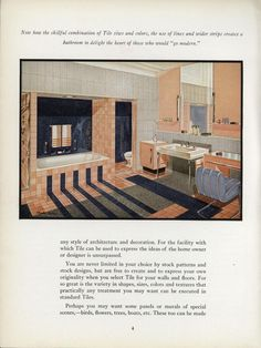 Facts about Tile, 1939.    Tile for the floors and walls are featured.    From the Association for Preservation Technology (APT) - Building Technology Heritage Library, an online archive of period architectural trade catalogs. It contains thousands of catalogs. Select your material and become an architectural time traveler as you flip through the pages.