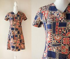 Japanese Vintage Dress / Vintage 1970's Handmade Dress / Handmade Navy and Orange Short Sleeve V-Neck Mini Dress