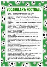 english worksheet football vocabulary part 2 sports year 2 pinterest worksheets and english. Black Bedroom Furniture Sets. Home Design Ideas