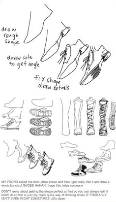 Tutorial on how to draw different types of shoes/boots for your character, by kelpls on Tumblr.