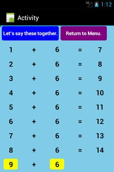 """One of the table pages in the Addition Level 1 app. The tables reveal progressively and remain on the screen until the """"return to menu"""" button is pressed. Link to download app: https://play.google.com/store/apps/details?id=b4a.additionslevel1F"""