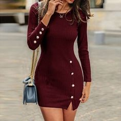 Manoswe Sexy knitted Long Sleeve Sweater Dress Women Plus Size Casual Four-color Bodycon Dress Autumn and Winter Pullover dress Long Sleeve Short Dress, Long Sleeve Sweater Dress, Dress For Short Women, Knit Dress, Dress Long, Sweater Dresses, Jumper Dress, Tight Dresses, Sexy Dresses