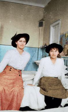 Grand Duchesses Maria Nikolaevna Romanova & Anastasia Nikolaevna  Romanova visiting a hospital during the WW I.