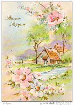 Vintage Easter, Vintage Christmas, Vintage Postcards, Vintage Images, Illustrations Vintage, Simple Oil Painting, Etiquette Vintage, Vintage Landscape, Cottage Art