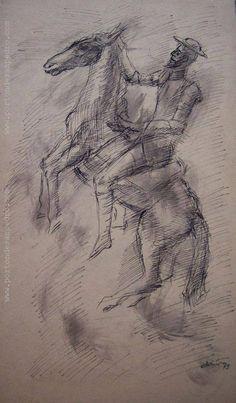 "Juan Martín  ""Quijote"" Tinta china sobre papel 39 X 23 cms. Año 1979 http://www.portondesanpedro.com/ver-producto.php?id=8933"