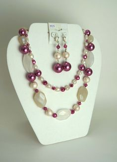 Fuchsia and Cream Pearl Jewelry Set M4135 by nenafashions on Etsy
