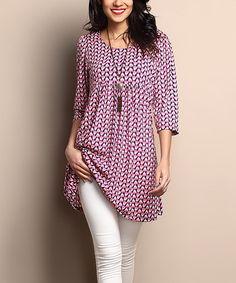 Pink Geo Empire-Waist Tunic Dress  zulily  zulilyfinds Blusa Larga b63bb902ea5