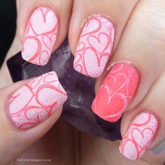 Obligatory Pink Hearts Valentine's Day Stamped Nail Art