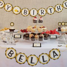 HAPPY BIRTHDAY Banner - Bee Birthday Party Decorations - Bumble Bee Banner in Yellow and Black. $25.50, via Etsy.