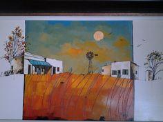 Glendine Cape Dutch, South African Artists, Encaustic Art, First Art, Abstract Paintings, Folk Art, Buildings, Art Pieces, Landscapes