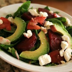 Beet Salad Recipe w/ avocado, feta cheese, red onion. Steam beets (over water/cider vinegar mix) instead of baking (which takes possibly hours. Homemade Balsamic Dressing, Love Beets, Beet Salad Recipes, Cooking Recipes, Healthy Recipes, Vegetarian Recipes, Healthy Soup, Healthy Salads, Cooking Ideas