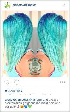 Arctic fox hair color, light blue hair, turquoise hair