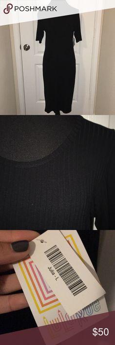 BLACK LuLaRoe Julia dress - NWT Black ribbed LuLaRoe Julia dress. Never been worn, still has tags. Feel free to make me an offer. LuLaRoe Dresses Midi