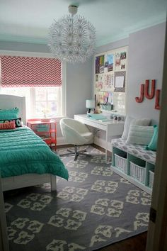 aqua and coral bedroom ideas, color schemes, gray and coral girl bedrooms, girls bedroom, dream bedrooms, desk areas, coral and gray bedroom, girl's bedroom, girl rooms
