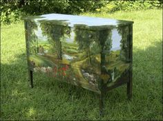 Summer on a dresser... Make-over with magnificent faux painting.
