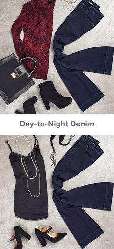 High-rise flare denim is just right to go from the boardroom to  after work happy hour. Pair with a work-ready blouse in a rich  fall hue for the work day, and change into a sleek silk camisole  and ladylike pearls once the sun sets.