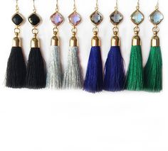 Silk tassel dangle earrings with colored framed gemstone on gold ear wires. Available Colors: Black Silver Royal Blue Green Tassels are approx. Tassel Jewelry, Diy Jewelry, Beaded Jewelry, Jewelry Accessories, Fashion Jewelry, Jewelry Making, Jewellery, Diy Earrings, Tassel Earrings