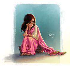Cartoon Illustration by on DeviantArt Girl Cartoon Characters, Cute Cartoon Girl, Cartoon Girl Images, Couple Cartoon, Indian Illustration, Cute Illustration, Cartoon Sketches, Cartoon Art, Cartoon Illustrations