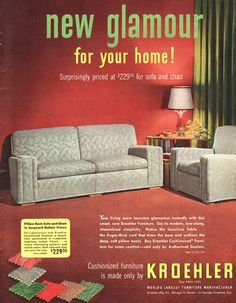 "1951 Ad Kroehler furniture sofa chair carpeting lamp photo Print Ad 10.5""x13 Vintage Sofa, Vintage Ads, Sofa Furniture, Sofa Chair, Funny Ads, Print Ads, Carpet, 1950s House, Sofas"