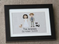 Stitch People - Custom Bride & Groom Wedding Portrait