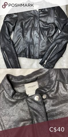 """Light """"leather"""" jacket Shiny """"leather"""" like material. Lightly used. Jackets For Women, Leather Jacket, Coats, Product Description, Best Deals, Closet, Things To Sell, Black, Style"""