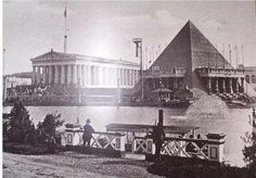 Nashville Tennessee State Centennial Celebration showing the Parthenon and the Memphis Pyramid Circa: 1897
