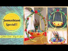 Ganpati Decoration Design, Thali Decoration Ideas, Krishna Krishna, Krishna Flute, Janmashtami Decoration, Ladoo Gopal, Diwali Craft, Diy Wind Chimes, Festival Decorations