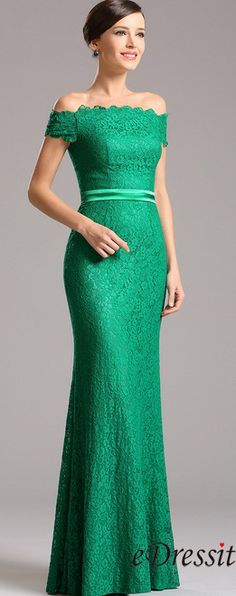 Elegant Off Shoulder Green Overlace Formal Dress